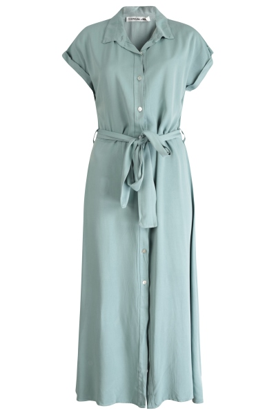 Maxi jurk doorknoop mint