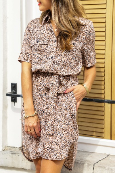 Short blouse dress camel
