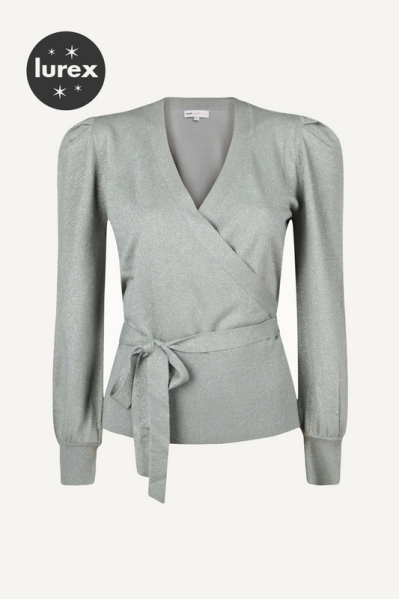 Cardigan with fake wrap and puff sleeve mint