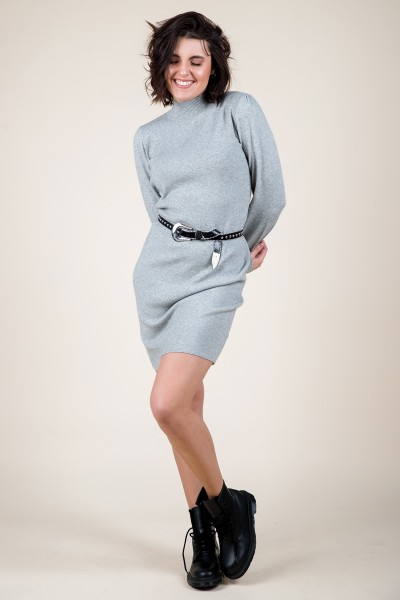 Turtle neck dress with balloon sleeve grijs