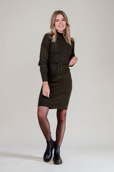 turtleneck dress with scalloped edges and belt army