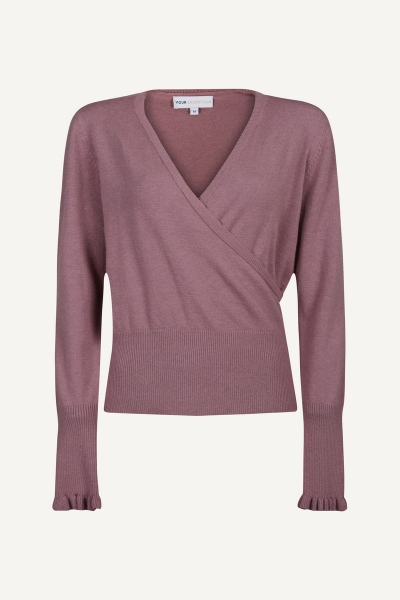 Fake wrap top with scalloped edge and ruffle sleev roze