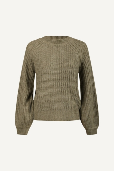 Puffsleeve pullover knit army