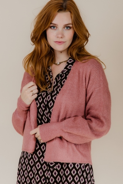 Long sleeve cardigan with cuffs roze