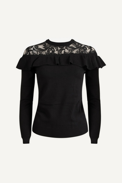 Long sleeve pullover with lace neckline zwart