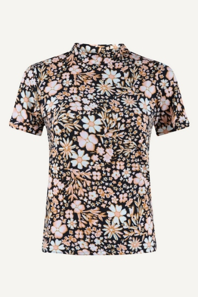 Ambika shirt / top Zwart - MELINDA FLOWER