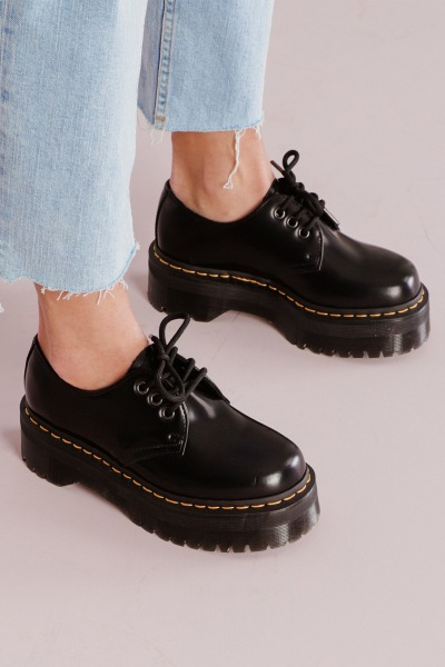 Dr.Martens Veterschoen Zwart - QUAD BLACK POLISHED